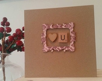 Personalised Birthday or Anniversary Card for Girlfriend, Wife, Fiancee, Secret Love : Handmade Card with Scrabble Tile