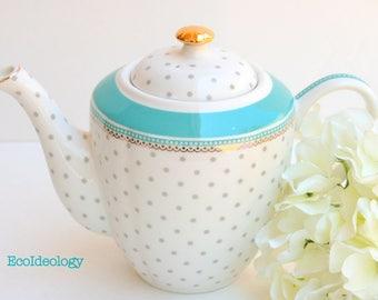 White Teapot. Polka Dots Large Teapot. White and Blue Turquoise Teapot. Re-purposed Vase. Tea Party or Gift Inspiration.Vintage Shower
