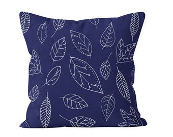 45 colors Leaves Pillow Cover, hand drawn indigo foliage pillow cover, botanical pillow cover