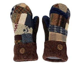 Blue and Brown Patchwork Mittens, Wool Mittens, Sweater Mittens Sweaty Mitts Fleece Lined Recycled Made in Wisconsin Ecofriendly