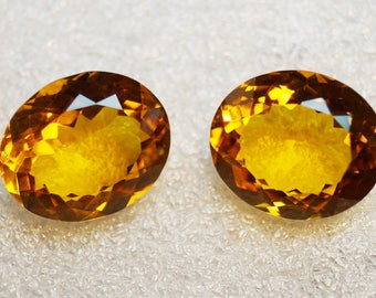 50% OFF - Oval Cut Citrine Faceted Gemstone Citrine Earring 27 Cts 28x15 mm  (A00-221)