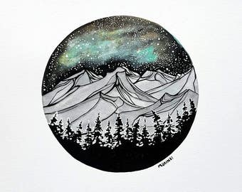 "Original Watercolour and Gouache / Westcoast Art / Mountain Scene / Circle Painting / ""Porthole View"""
