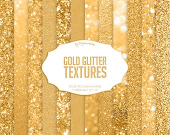 """Gold Glitter Digital Paper """"Gold Glitter Textures"""" bright golden textures, shining backgrounds in yellow, gold tones"""