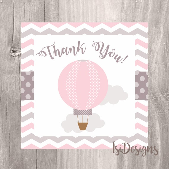 Thank You Tags, Printable Hot Air Balloon Favor Tags, Pink Balloon Baby  Shower Thank You Tags, Instant Download, Girl Baby Shower Tags