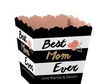 Mother's Day Candy Boxes - Personalized Mother's Day Party Supplies - Best Mom Ever Small Custom Favor Box - Set of 12