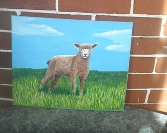 Lamb Nursery Art, #1, 11 x 14