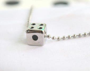 Stainless Steel 316L, Dice Necklace