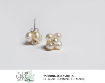 pearl stud earrings | bridal silver earrings | pearl wedding earrings | bridesmaid earrings
