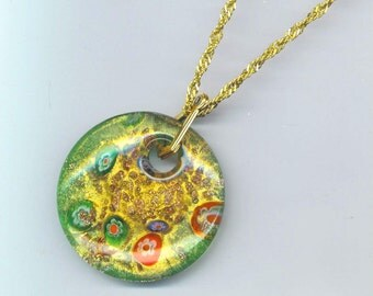 Large Round Murano Italy Pendant . Venetian Glass . Gold, Red, Green Accents . Valentine's Day . Chainmaille Necklace . Large Murano Floral