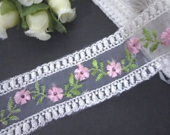 Pink Embroideries Flower Organza Lace with Pink Embroideries Flower 1-3/8 inch / 3.5cm width L532