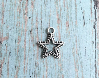 8 Star charms (2 sided) antique silver tone - silver star pendant , astronomy charms, solar system charm, galaxy charms, astrology charm, E7