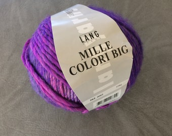 Lang Yarns, Mille Colori Big, 757  Pink and Purple, Huge Ball 200 Grams, De Stash, Wool Acrylic Blend, Very Soft and Squishy, Discontinued