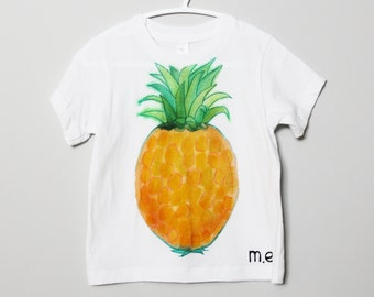 SALE Pineapple t-shirt hand painted BABY tee, toddler painted tee, fruit tshirt, summer, art to wear, ooak, wearable art, 12-18 months