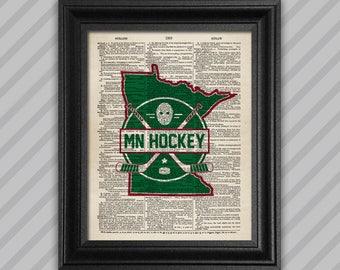 MN Hockey Dictionary Print - Green & Red
