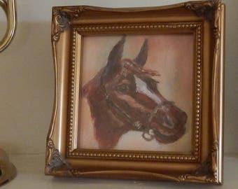 Sweet Framed Original Horse Oil Painting!