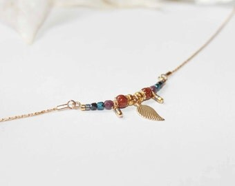 Fine gold plated short necklace with goldstones