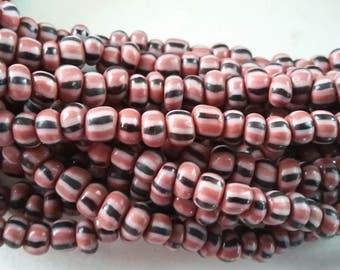 Christmas beads, striped ceramic beads, 5 mm.diameter, strand 36 inches, 90 cm.