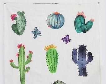 Cactus Pattern Digital Printed Cotton Panel Fabric