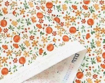 Orange Color Flower Pattern Digital Printing Cotton Fabric by Yard - AZ12