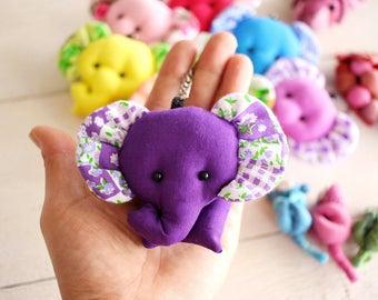 ELEPHANT / Set 25 Elephant keychains, Elephant keychain, Animal keychain, Keychain set, Fabric keychain, Stuffed elephant, Key ring, Gift
