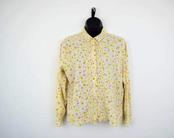 1960's Ship'n Shore Long Sleeved Pleated Blouse / Soft Yellow With Dandelions / Colorful Spring Flowers / Button Down / Size 34 / Small XS