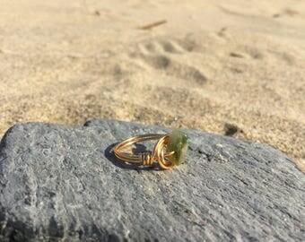Size G Tourmaline Gemstone wire wrapped ring