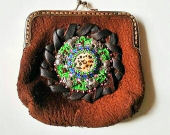 Beaded Distressed Leather Change Purse~ Beaded Elephant leather coin purse~ Leather laced beaded coin purse