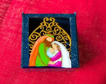 Nativity wooden box- hand painted nativity box - nativity cut out box