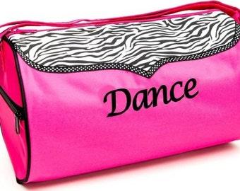"1  Hot Pink/Black Zebra ""DANCE"" bag"
