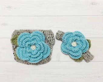 Ready Ship! Newborn - 3months Baby Girl Photo Prop Handmade Crochet Flower Headband & Diaper Cover Set