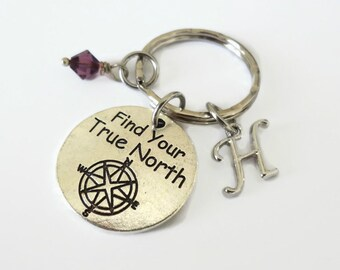 Personalized keyring with initial and Swarovski Birthstone - Find your True North Compass Charm - Custom Keychain, initial Charm