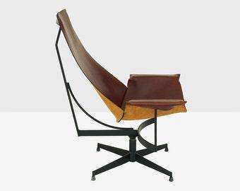 william katavolos for leathercrafter leather swivel sling chair, katavolos swivel chair, midcentury leather chair, katavolos chair, modern