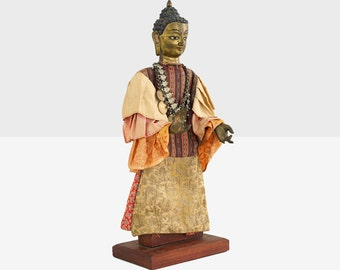 tibetan figure of buddha, tibetan wood and bronze buddha, tibetan buddha figure, 19th century tibetan buddha sculpture, tibetan buddha,