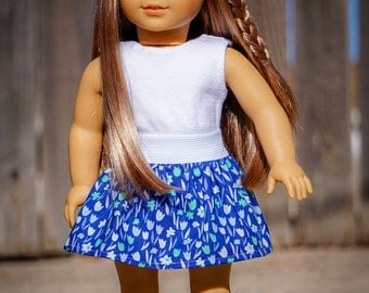 American Girl Doll Skirt and Shirt made with Liberty Jane Patterns