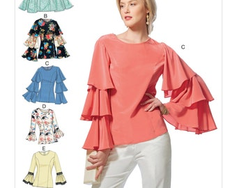 Vogue Pattern V9243 Misses' Princess Seam Tops with Flared Sleeve Variations