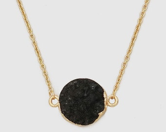 Gold Plated Round Natural Black Druzy Necklace