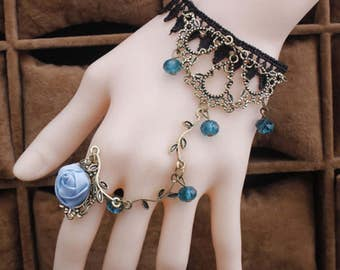 Goth Vintage Victorian Crystal & Blue Rose Black Lace Bracelet w/ Ring