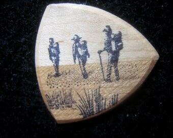 Wooden Guitar Pick Hiker Backpacker Guitar or Bass Pick