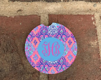 Monogram Pink Lilly Absorbent Stone Car Coasters(set of 2),Personalized Car Coaster, Lilly Pulitzer Inspired His & Her Cup Holder(set of 2)