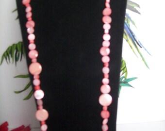 santoir Pearl Necklace mother of Pearl real rose