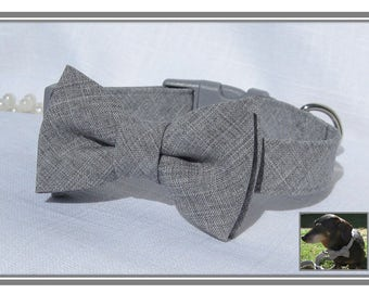 Light Grey Bow Tie Collar~Wedding Dog Collar~Bow Tie Dog Collar~Removable Bow Tie~Grey Side Release Buckle~Optional Matching Leash