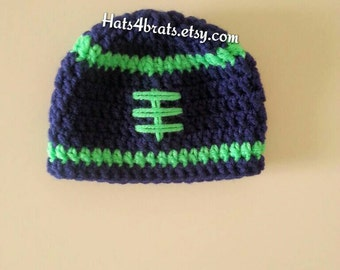 Seattle Seahawks Hat, Crochet Football Hat, Baby Football Hat, Seahawks Hat, Seattle, Newborn Hat Photo Prop, Infant Football Photo Prop