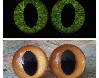 21mm Glow In The Dark Cat Eyes, Metallic Copper, Amber Safety Eyes With Yellow Glow, 1 Pair of Plastic Safety Eyes