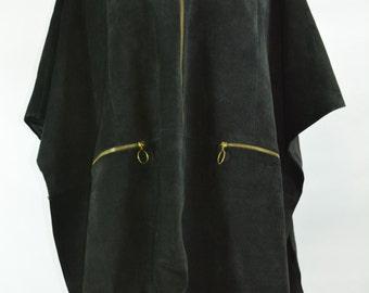 1960's Gino Paoli Black Suede Cape, Suede Coat, Vintage Suede Coat, Suede Cape, Coat, 1960s Suede Cape,  Suede Coat, 1960s Coat, Mod Coat