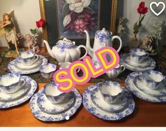 SOLD ! Shelley Dainty Blue tea/coffee set. 26 pcs.