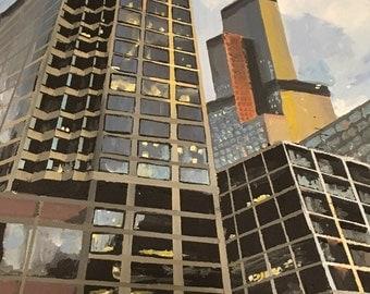 Original Acrylic Painting Chicago 16X20