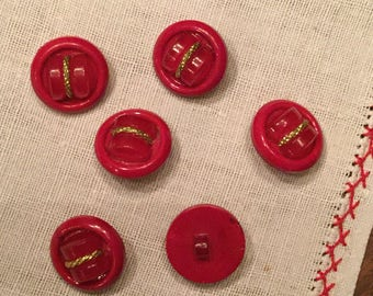 """Vintage Red Celluloid Button with yellow metal - 7/8"""""""