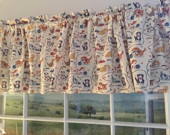 Cute Dogs Window Valance ~ Extra Wide ~ 78 Inches Wide