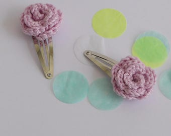 Crocheted hair clips -  Set of two snap clips