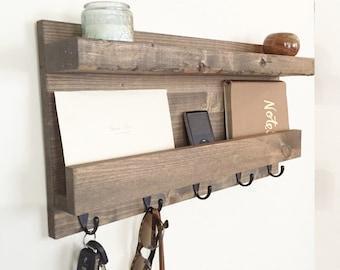 mail shelf mail organizer wood floating shelf key hook rustic entryway shelf